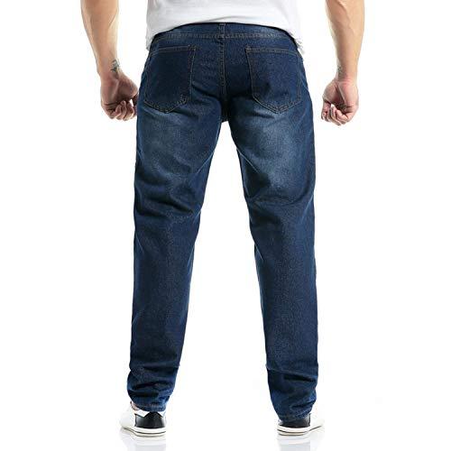 Pants Denim Moda Jeans Taglie Distrutto Dunkelblau Comode Abiti Da Lunghi Uomo Distrutti Ripped Look Distressed Pantaloni Casual w0xR70