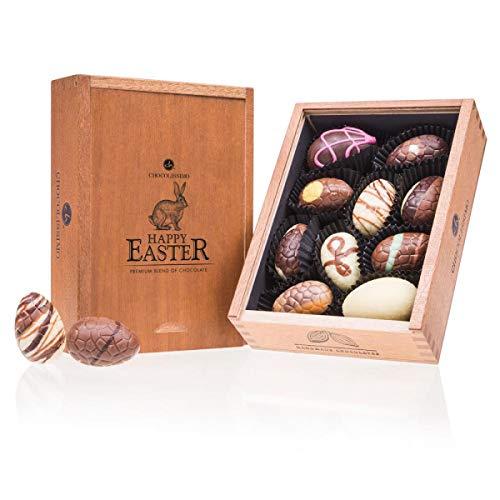 Egg Elegance Midi - 10 gefüllte Schokoladen-Ostereier | in edler Holz-Box | Ostergeschenk | Ostern Schokolade | Schokoladeneier