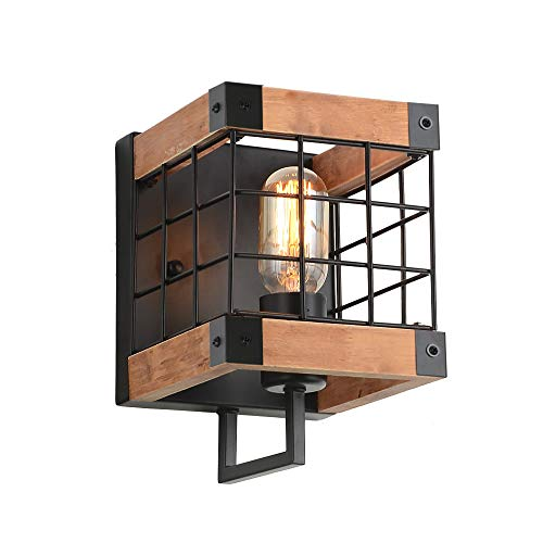 Anmytek Cube Wood Wall Lamp with Iron Mesh Cover Industrial Wall Sconce, -