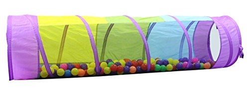 Kiddey Multicolored Play Tunnel for Kids (6') - Crawl and Explore Tent, with See Through Mesh Sides, Promotes Healthy Fitness, Early Learning, and Muscle Development - Balls NOT - Fitness Ball Play