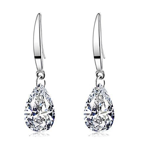 Sephla 12mm Pear Shape Naked Drill Super Sparkle Crystal Earrings For Women (White earring)