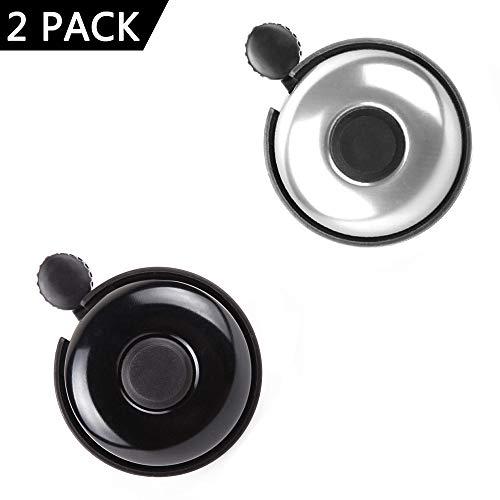 REKATA 2 Pack Aluminum Bike Bell, Loud Sound Bicycle Bell for Adults Kids Girls Boy (Black + Silver)