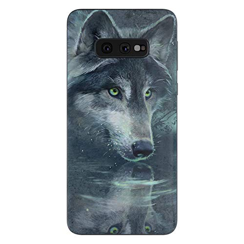 Wolf Reflection Protective Decal Sticker for Samsung Galaxy s10e - Scratch Proof Vinyl Skin Wrap Thin Edge Line Cover and Made in USA