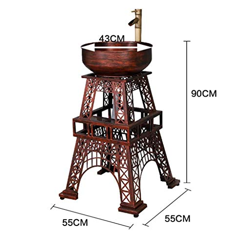 (LNDDP Wash Basin, Iron Art, Personality Tower Loft Industrial Style Floor-Standing Bathroom Sink with Faucet (Color : Red Copper) )