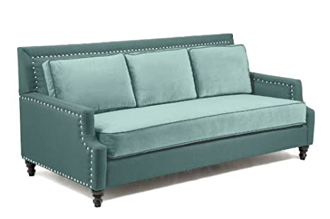 Amazon.com: Loni M. Designs Madrid Sofa, Light Blue: Kitchen ...
