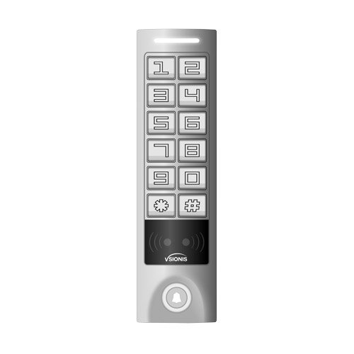 Visionis VIS-3005 Access Control Weatherproof Metal Housing Anti Vandal Metal Keys Reader/Keypad Standalone No Software 2000 Users with Doorbell Slim ()
