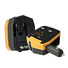 All-in-one International Travel Adapter, Universal Worldwide Safety Fused Travel Charger Wall Charger Plug UK/US/AU/EU/JP with Dual Smart USB Ports for Business Trip +POWER BANK & AC Socket (YELLOW)