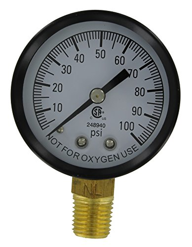 100 Psi Water (Simmons Manufacturing 1305 100 PSI Low Lead Pressure Gauge, 1/4