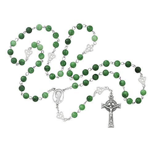 MV001 GREEN GLASS IRISH ROSARY BEADS, 8MM IMITATION JADE IRISH ROSARY GREEN, WITH SILVER OX CRUCIFIX & CENTER (Crucifix Jade Green)