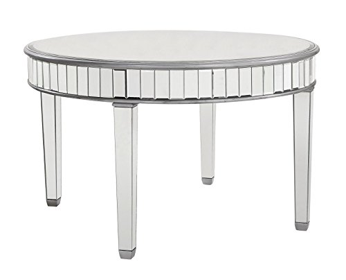 Beveled Mirrored Round Dining Table in Silver 48 in. x 30 in.