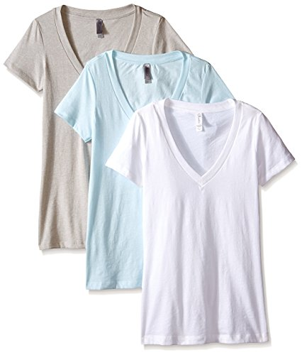 Clementine Apparel Women's Deep V Neck Tee (Pack of 3), Ice Blue/Silk/White, Large