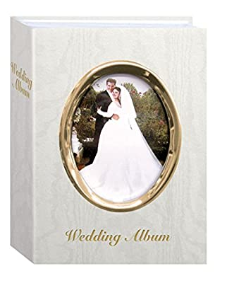 """Pioneer Photo Albums 100-Pocket Moire Cover Album with Goldtone Oval Frame and """"Wedding Album"""" Text for 4 by 6-Inch Prints, Ivory"""