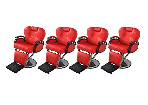 BarberPub Four All Purpose Hydraulic Recline Salon Beauty Spa Shampoo Styling Barber Chairs 8705 Red from BarberPub