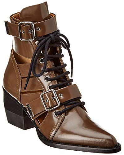 Chloe Rylee Double Buckle Leather Boot, 37.5, Brown