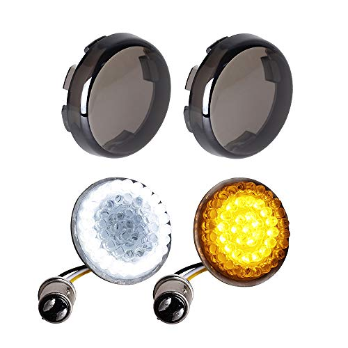 NTHREEAUTO Smoked Bullet Front Turn Signals LED Lights Panel Compatible with Harley Dyna Street Glide Road - Turn Stay Signal Rear