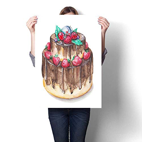 Anshesix Art-Canvas Prints Watercolor Chocolate Cake with Berries Customizable Wall Stickers 16