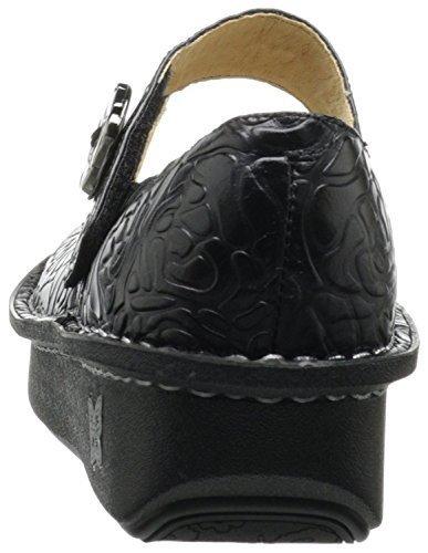 Alegria PAL-531: Women's Paloma Black Embossed Rose Flat (37 M EU)