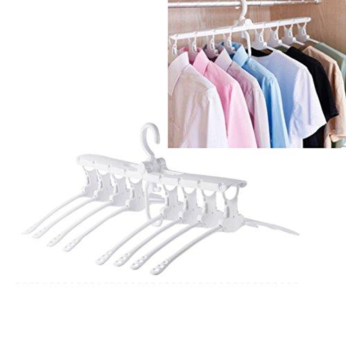 KIKIGOAL Plastic Clothes Hangers 8 in 1 Folding Space Saving