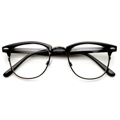 zeroUV - Optical Quality Horned Rim Clear Lens RX'able Half Frame Horn Rimmed Glasses (Gun - Gunmetal Clubmaster
