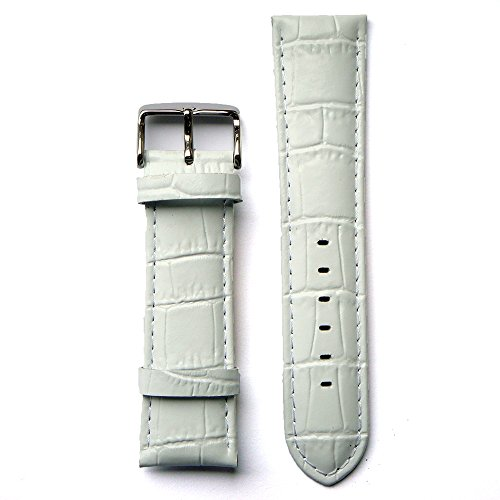 Leather Croco Embossed White 22 Millimeters Watch Strap