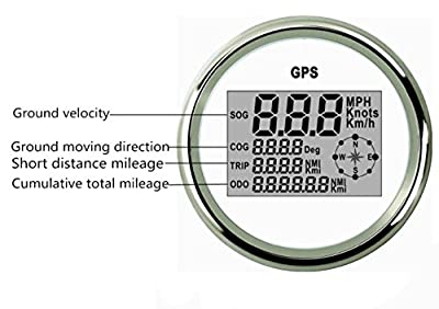 ELING Waterproof Digital GPS Speedometer Odometer For Auto Marine Truck With Backlight 3-3/8'' (85mm) 9-32V