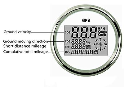 ELING Waterproof Digital GPS Speedometer Odometer For Auto Marine Truck With Backlight 3-3/8'' (85mm) 9-32V
