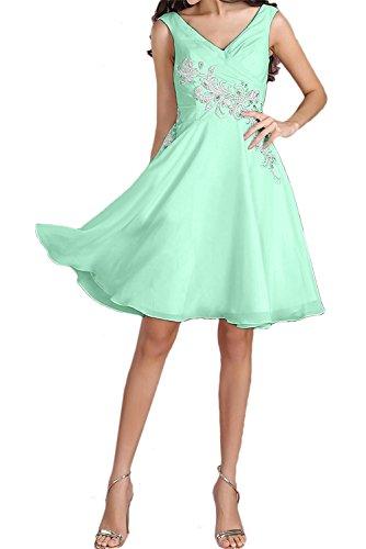 Mintgruen Partykleid kurz Ivydressing Applikation Kleid Strass Kleid Heimkehr Perlen Damen Brautfern zaertlich Chiffon V Aermellos Falte Ausschnitt ZZaqEw