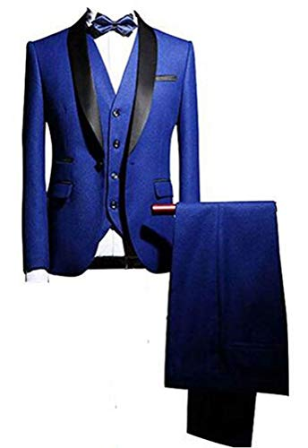 Royal Blue Shawl Lapel Men Suits 3 Pieces Wedding Suits for Men Groom Tuxedos Royal Blue 44 chest/38 Waist
