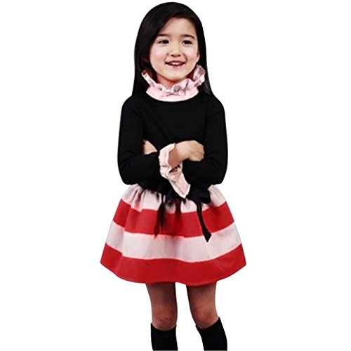 EKIMI Kids Girls Long Sleeve Stripe Princess Bow Knot Dress With Belt (3-4Y, (Little Mass Sundress)