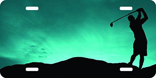 golf golfer driver pga pebble beach masters Backgound Aluminum Airbrushed License Plate ()