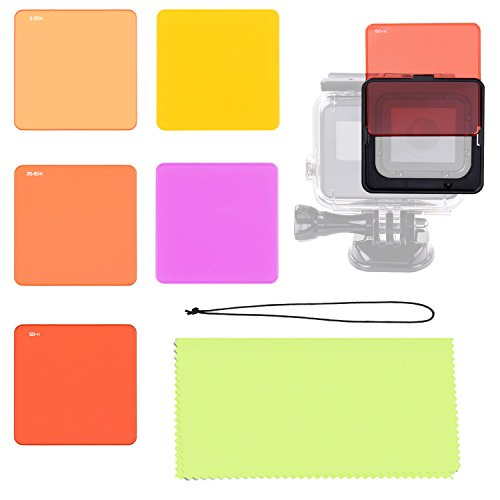 Aobelieve Switchable Underwater Lens Filter Set 5-Pack (3 x Red, Magenta, Yellow) for GoPro Hero 5 Black Action Camera, Fits GoPro Standard Waterproof Dive Housing