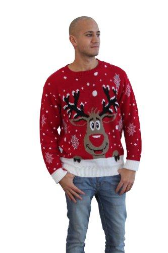 Mens Vintage Reindeer Christmas Jumper crew neck pullover Sweater