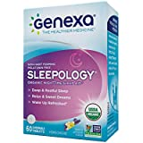 Genexa Sleepology Homeopathic Sleep Aid: Natural, Certified Organic, Physician Formulated, Non-Habit Forming, Non-GMO Verified. Promotes Restful Sleep (60 Chewable Tablets)