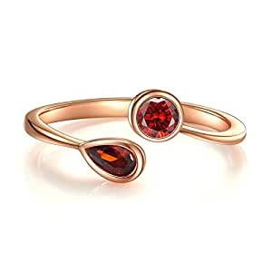 Cz Ring, Wrap CZ Stackable Cubic Zirconia January Simulated Garnet Ring Rose Gold Plated Sterling Silver Open Ring