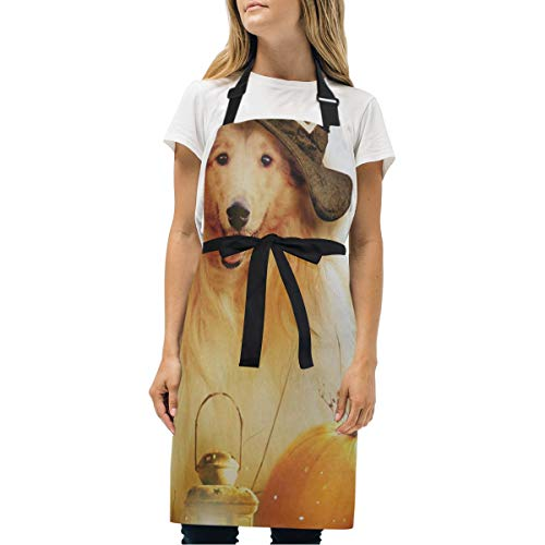 Womens Aprons Dog Witch Hat Kitchen Bib Aprons with Pockets Adjustable Buckle on Neck