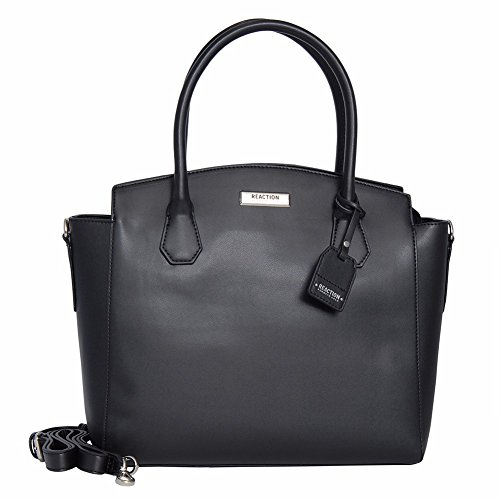 Reaction Kenneth Cole Barbara Satchel Bag with Removable Strap (Black)