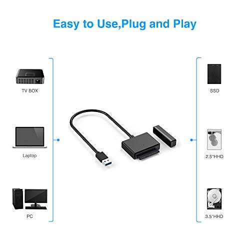 USB 3 to SATA, ELUTENG SATA III Hard Drive Adapter Converter for 3.5/2.5 Inch HDD/SSD with 12V/2A Power Adapter