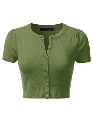 JJ Perfection Women's Round Neck Short Sleeve Button Down Bolero Cropped Cardigan Sage M Bolero Sage
