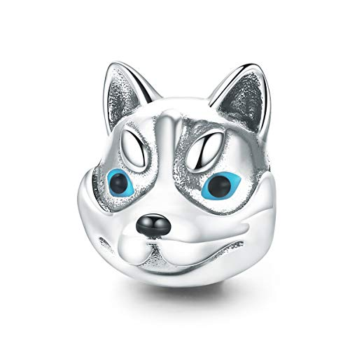 Everbling Dog Head Cute Husky Poodle 925 Sterling Silver Bead Fits European Charm Bracelet