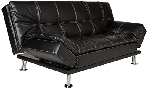 Coaster Home Furnishings Dilleston Convertible Futon Sofa Bed - Black Faux Leather