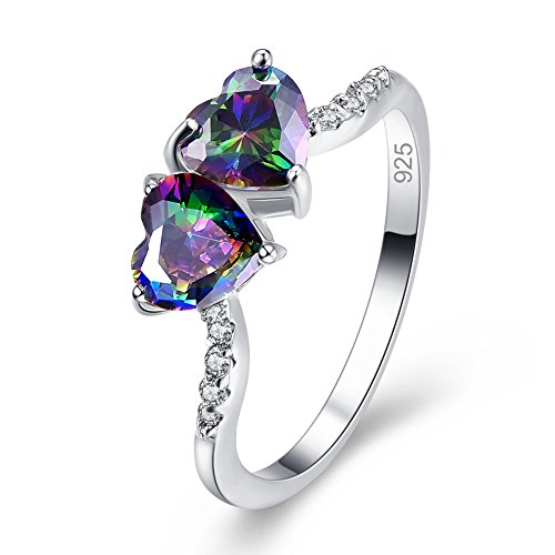Marcasite Leaf Ring (Veunora Eternity Love 925 Sterling Silver Created Rainbow Topaz Filled Double Heart Ring)
