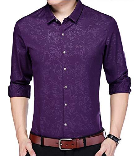 Zhaoabao-au Chemises Habillées Mince Impression En Forme Bouton À Manches Longues Chemises Pourpres