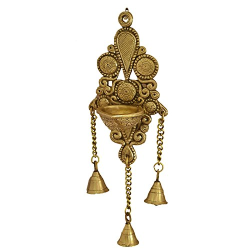 Aakrati Wall Hanging Deepak als as candle stand with Bells Made of Brass metal - Wall decor showpiece for gift -Total height 11 inch - Brass Candle Stand