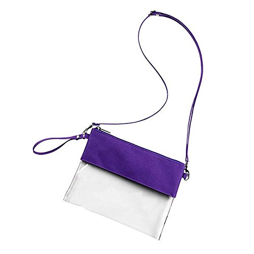 MONOBLANKS Clear Zip Pouch with Detachable Crossbody Adjustable Strap and Wristlet (Purple) by MONOBLANKS (Image #2)
