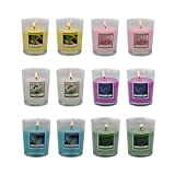 Set of 12 Scented Candles with 6 Fragrances, Natural Soy Wax Votive Candles for Housewarming and Return Gift