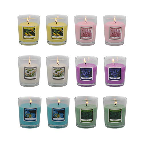 Set of 12 Scented Candles with 6 Fragrances, Natural Soy Wax Votive Candles for Mother's Day Gift, Housewarming Gift and Return Gift
