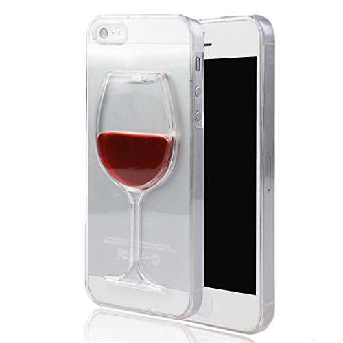 Okai Case for iPhone 5, Fashion Creative 3D flow Liquid Red Wine Glass Transparent Hard Case Cover for iPhone 5 5S 5G Wine - Rde(Not Lips and high heels)