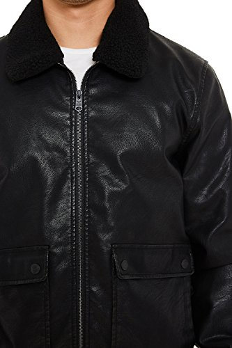 Bomber Redwing Aviator Sherpa Pelle Black Threadbare Look Giacca Vintage Finta Uomo CzwaYxcq