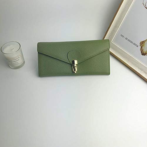 YOIOY Envelope Clutch Bag Korean Version of The Long Wallet Ladies Clutch Bag Leather Wallet Female (Color : Black) (Color : Green)
