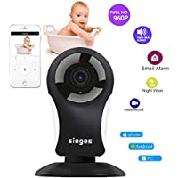 Baby Monitor Wireless WIFI Security Camera ,SIEGES 960P HD 120 Degree Rotation Two-way Audio , IR Night Vision Smart Motion Detective Home Surveillance System for Android/iOS/PC